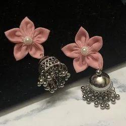Silver Metal Kusum Earrings- Fabric Jewelry, Casual, Jewellery Type: Stud Earrings