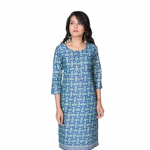 Philauri Blue Basic Cotton Printed Straight Kurti