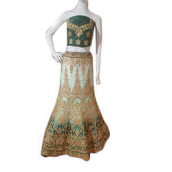 Embroidered Semi-Stitched Bridal Lehenga