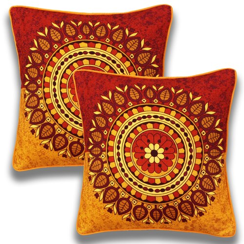 Digital Print Orange Blue Cushion Covers Size 16 X Inches 24