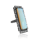 Opal and Baguette Diamonds 925 Silver Ring