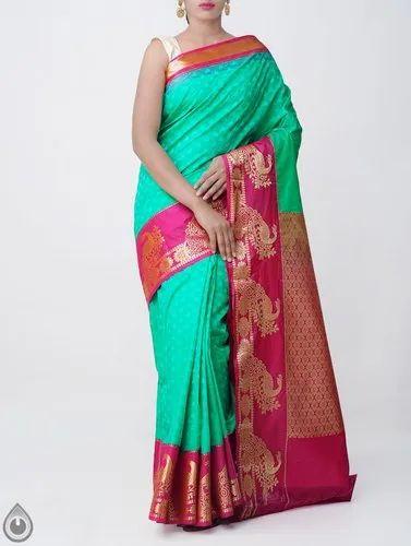 18f0a3e194 Kanchipuram Silk Cotton Saree with Peacock Border, Length: 6.40 m (with  Blouse)