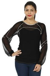 Polyester Full Sleeve Black Top, Size: S, M & L