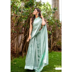 Fancy Formal Wear  Linen Saree