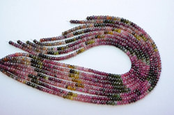 15 Inch 4.5-5mm 100% Natural Multi Tourmaline Faceted Rondelle Beads