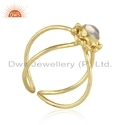Ethiopian Opal Gemstone Gold Plated Designer 925 Silver Ring Supplier