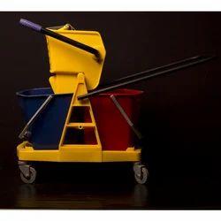 Double Bucket Mop Wringer Trolley