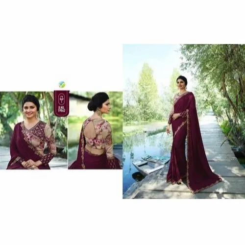 Wedding Wear Silk Embroidered Sarees with Blouse Piece