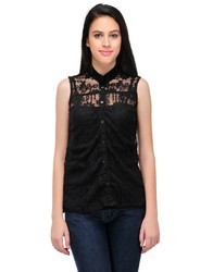 Black Ladies Button Front Tunic Top