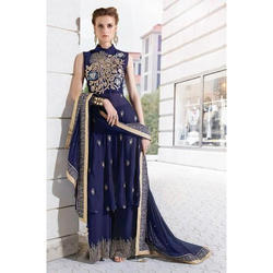Semi-Stitched Georgette Ladies Embroidered Suit, Size: S-XXL