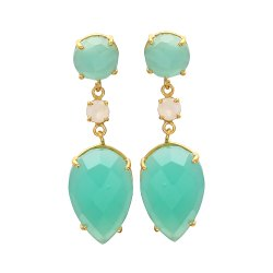 Aqua Chalcedony and Rainbow Moonstone Earring