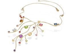925 Silver Gold Plated Multi Stone Necklace