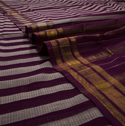 Handwoven Lightweight Cotton Saree In Maroon And Beige Stripes 980512363