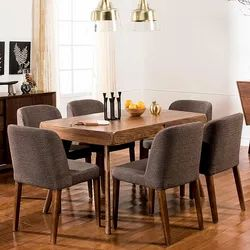 1 Table And 6 Chairs Brown IAAH The Chalet Dining Room Furniture Set, For Home