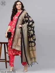 Nayo Leaf Printed Straight Kurta And Solid Pants