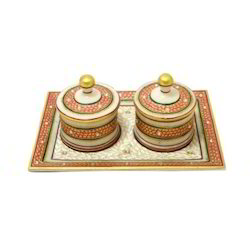 Marble Stone Studded Two Dibbi Set With Rect Tray