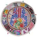 Vintage Round Ottoman Sari Patchwork Embroidered Pouf Cover