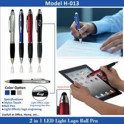 2 in 1 LED Light Logo Ball Pen H-013