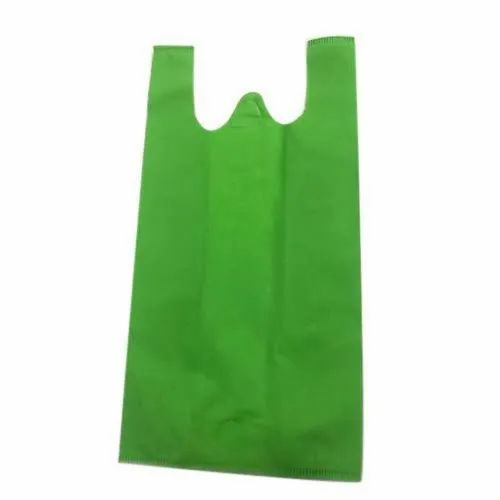 Plain Green Non Woven W Cut Bag, For Grocery