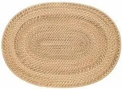 Natural Cane Mat Oval Placemat, 1 Pc, Size: 16 X 12