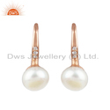 New Rose Gold Plated Silver CZ Pink Pearl Gemstone Earrings