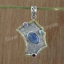 925 Sterling Silver Jewelry Blue Topaz Pendant