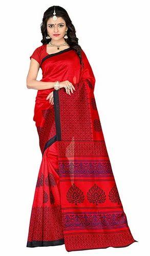 3b6d802c7 Party Wear Printed Jaanvi Fashion Mysore Art Silk Saree Red
