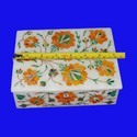 White Marble Inlay  Jewellery Box