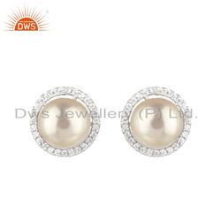Round Pearl CZ White Rhodium Plated Silver Stud Earrings