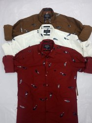TRAP Cotton Modern Print Casual Shirts