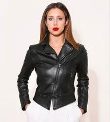Full Sleeve Black Women Leather Jacket