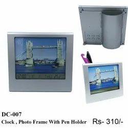 Plastic Clock Photo Frame With Pen Holder