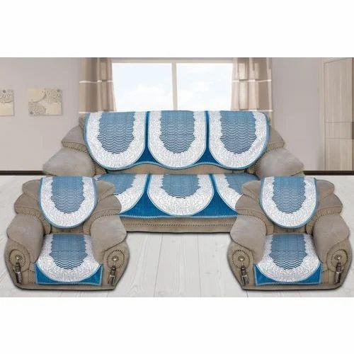 Sky Blue 5 Seater Sofa Cover Set