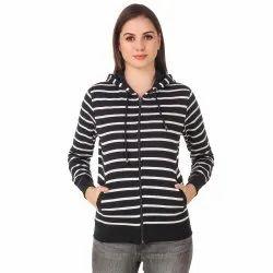 Full Sleeve Striped Women Sweatshirt