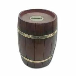 Wooden Coin Bank Barrel Shape