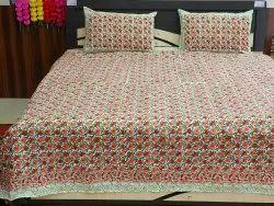 Hand Block Printed Cotton Fabric Jaipuri Bed Sheet