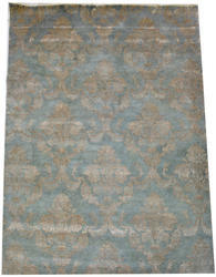 Light Blue Wool Silk Living Room Area Rug