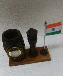 Wooden Pen Stand with Clock,Flag & Ashoka Pillar