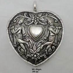 Hand Carving 925 Sterling Oxidized Silver Pendant