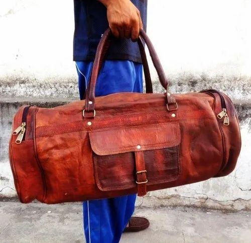 69cc7ff361cb Brown Leather Bag Vintage Genuine 22    Round Duffle Cum Gym Bag by Znt Bags