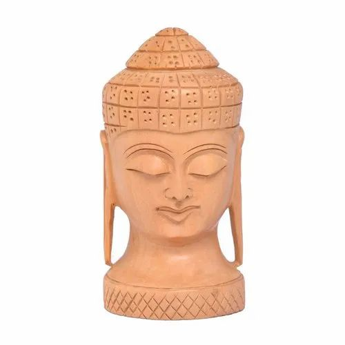 Surya Art Gallery Engineered Wood Wooden Buddha Head, Size/Dimension: 3
