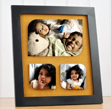 3 Photos Collage Frame With Jute