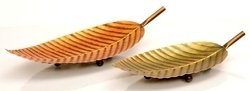 THE D.N.A. GROUP Golden Iron Painted Leaf Design Fruit Tray Set of 2