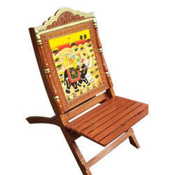 SRS Wood Wooden Rajasthani Print Chair