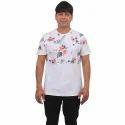 Mens Round Neck Printed White T Shirt