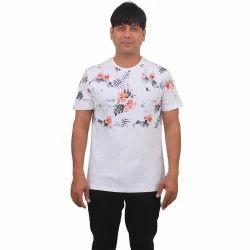 Mens Cotton Round Neck Printed White T Shirt, Size: S-XL