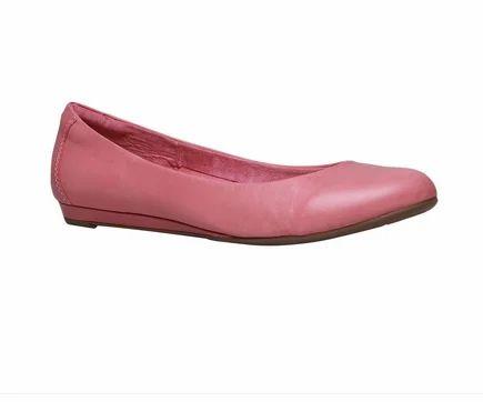 Pink Leather Hush Puppies Ballerinas