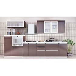 Wooden Brown Straight Modular Kitchen