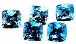 Swiss Blue Topaz Faceted Antique Cushion Gemstones