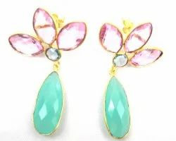 Aqua Chalcedony Rose Quartz And Aqua Quartz Triple Gemstone  Stud Earring with Gold Plated